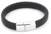 F-D3.1 B105-003 Leather Bracelet with Stainless Steel Lock 21x1.2cm Black