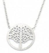 B-F18.5 N301-023S S. Steel Necklace with 18mm Tree Of Life Silver
