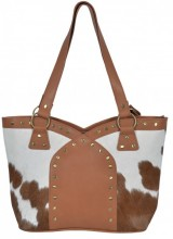 T-I3.2 BAG1155 Leather Bag with Studs and Cowhide Mixed Colors 40x25x11cm