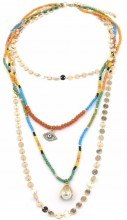 E-F19.1 N538-005 Layered Necklace 4 Layers Coins-Beads-Eye Multi Color-Gold
