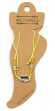 E-D18.5  ANK316-029 Anklet with Silver Plated Shell Yellow