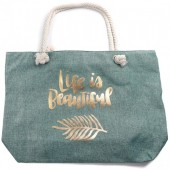 Y-C6.4 BAG530-005B Large Beach Bag Life is Beautiful Green