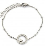 D-D18.4 B2020-002S S. Steel Bracelet 13mm Northern Star Crystals Silver
