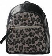 Y-B4.2 BAG534-001B Shiny PU Backpack with Animal Print 30x27x12cm Black-Grey