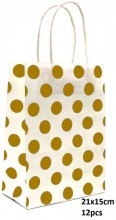 Y-F1.4 PK525-006C Paper Giftbag Dots 21x15cm Black-White 12pcs