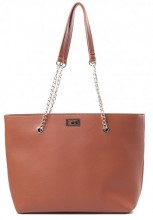 Y-E6.2 BAG417-005B PU Shopper with Metal Chain 44x35x10cm Brown