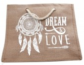 Y-C3.3  BAG526-003 Jute Shopper Dream and Love Dreamcatcher