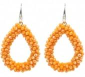 E-D15.3  E007-001C Facet Glass Beads 4.5x3.5cm Orange