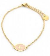 F-D6.2 B317-004 Stainless Steel Bracelet Flamingo Gold-Pink
