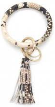 BC514-001A Bag - Key Chain Ring with Tassel Snake Beige
