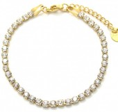 B-E2.3 B301-032G S. Steel Bracelet with Crystals Gold