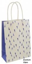 Q-H2.2 PK525-008C Paper Giftbag 21x15cm Blue 12pcs