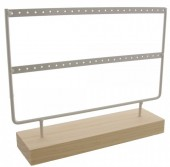 R-F2.1 PK424-003 Wood with Metal Earring Display  27x22x7cm White