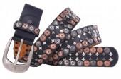 I-B10.1  FTG-059 PU with Leather Belt with Studs 3.5x85cm Black