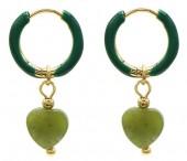 C-E18.4  E2142-031G S. Steel Earrings 1x2.5cm Southern Jade