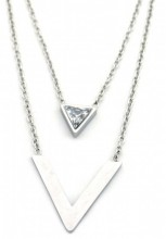 D-C7.3 N301-022S S. Steel Necklace V with Crystal Silver