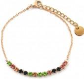 B-E18.5 B301-031RG S. Steel Bracelet Multi Color Crystals Rose Gold