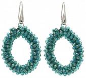 B-C15.3 E007-001 Facet Glass Beads 4.5x3.5cm Blue