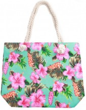 Y-A2.2 BAG217-002 Beach Bag Flowers 43x34cm Blue
