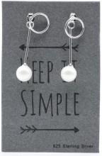 E103-028 925 Sterling Silver Earrings Long Pearl