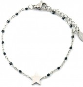 A-F19.2 B301-030 S. Steel Bracelet with Black Dots and 10mm Star Silver