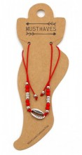 E-D2.2  ANK316-029 Anklet with Silver Plated Shell Red