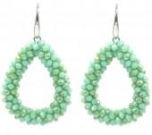 E-A16.3  E007-001 Facet Glass Beads 4.5x3.5cm Green