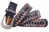 H-D10.1  FTG-059 PU with Leather Belt with Studs 3.5x90cm Black