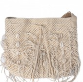 Y-C1.5 BAG533-001B Straw Bag with Fringes and Shells Beige