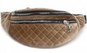 Z-C1.3  BAG524-001B Waist Bag Velvet 30cm Brown