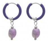 B-F18.2 E2142-033S S. Steel Earrings 1x2.5cm Amethyst