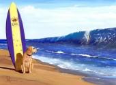 Y-E2.1  X271 Diamond Painting Set  Beach Dog 40x30cm