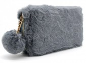 H-A19.1 WA117-005 Soft Fake Fur Wallet with Pompon 19x10cm Grey