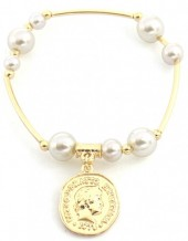C-E8.1 B2019-001G Bracelet with Pearls and Coin Gold