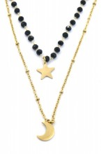 B-C16.3 N519-001 Layered S. Steel Necklace Glassbeads-Star-Moon Gold