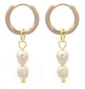 C-A17.5 E2142-028G S. Steel Earrings Freshwater Pearls 1x2.5cm