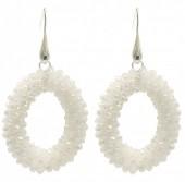 C-E2.1 E007-001 Facet Glass Beads 4.5x3.5cm White