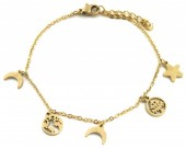 B-E21.2  B1939-011 Stainless Steel Bracelet with 7mm Charms Gold