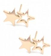 B-D6.5 E016-007RG S. Steel Earrings 12mm Stars Rose Gold