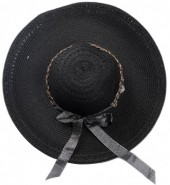 R-D7.1  HAT504-007C Hat with Ribbon and Chain Black
