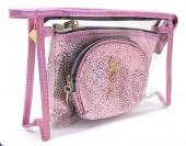 Y-C6.2 BAG200-018 Make Up Bag Shiny Pink-Transparant Set 3pcs