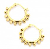 A-B3.1  E1264-004S Stainless Steel Earrings with Dots 15mm Gold