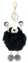 S-F4.2 KY2035-017A Keychain Fluffy Panda with Crystals 12x6cm Black