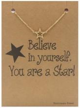 E-C8.7 B015-003 Stainless Steel Bracelet Star Gold