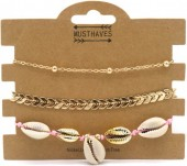 E-A22.2 B538-015 Bracelet Set 3pcs Shells and Arrows Gold-Pink