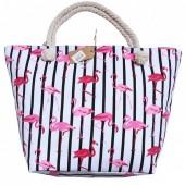 Z-B1.2  BAG185-007C Beach Bag Flamingos