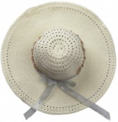 R-D2.2 HAT504-007C Hat with Ribbon and Chain Beige