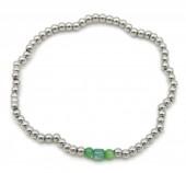 C-D15.1 B2142-004A S. Steel Elastic Bracelet Green Adventurine