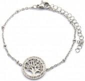 D-C15.3 B2020-001S S. Steel Bracelet 15mm Tree of Life Crystals Silver