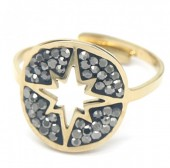 F-C8.1 R521-005 Stainless Steel Ring Northern Star with Crystals Adjustable